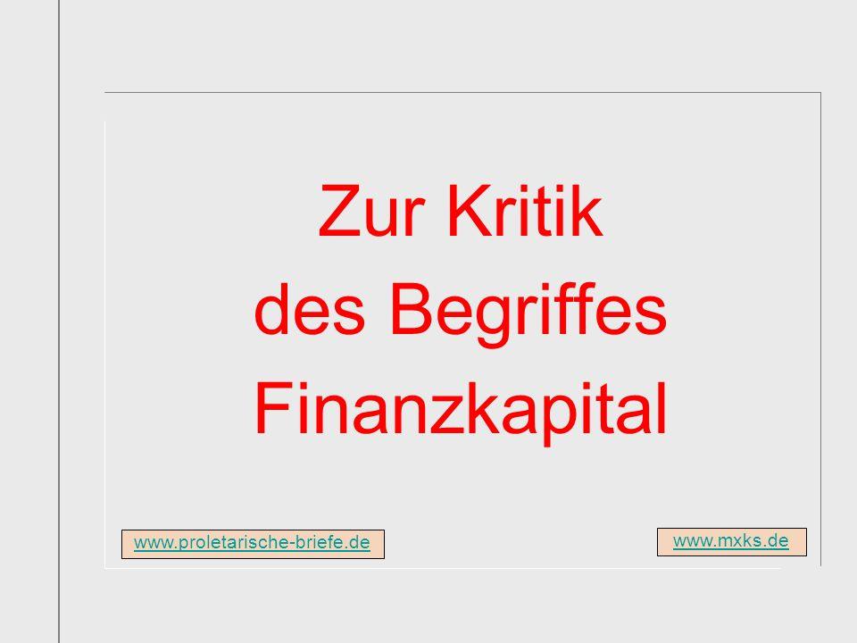 Zur Kritik des Begriffes Finanzkapital