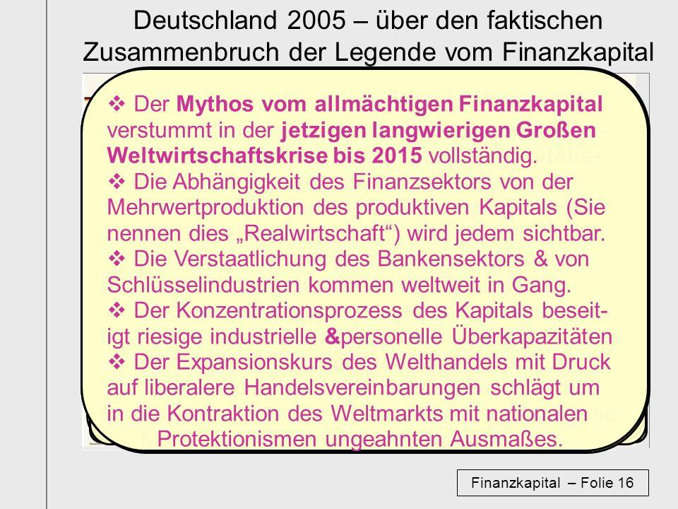 Deutschland 2005 – über den faktischen Zusammenbruch der Legende vom Finanzkapital
