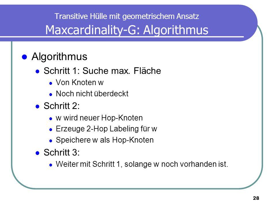 Algorithmus Schritt 1: Suche max. Fläche Schritt 2: Schritt 3: