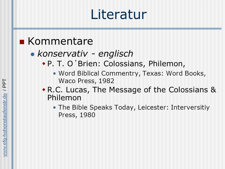 Literatur Kommentare konservativ - englisch