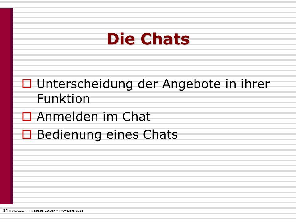 Die Chats Unterscheidung der Angebote in ihrer Funktion