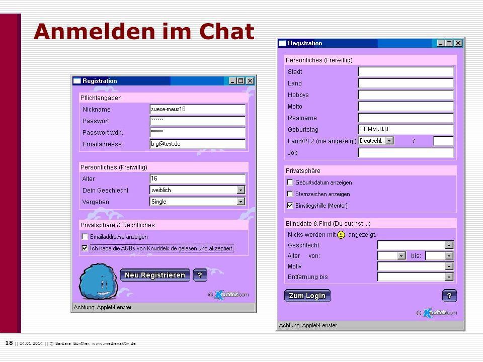 Anmelden im Chat