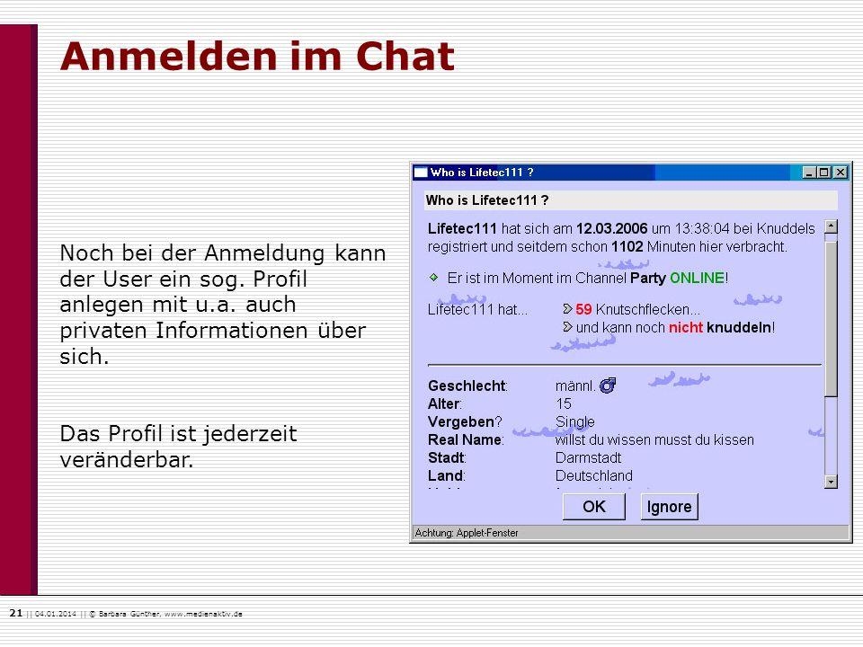 Anmelden im Chat Noch bei der Anmeldung kann der User ein sog. Profil anlegen mit u.a. auch privaten Informationen über sich.