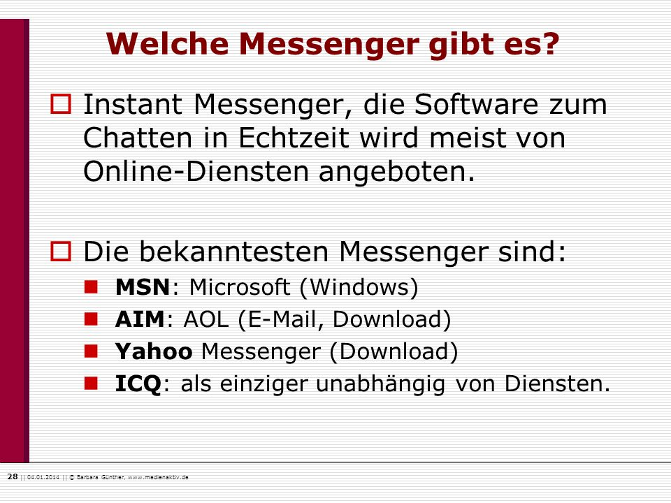 Welche Messenger gibt es