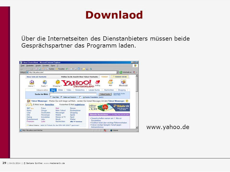 Downlaod Über die Internetseiten des Dienstanbieters müssen beide Gesprächspartner das Programm laden.