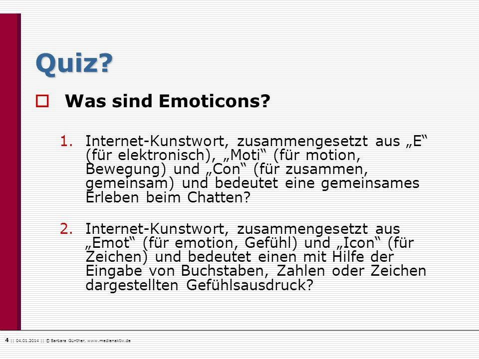 Quiz Was sind Emoticons