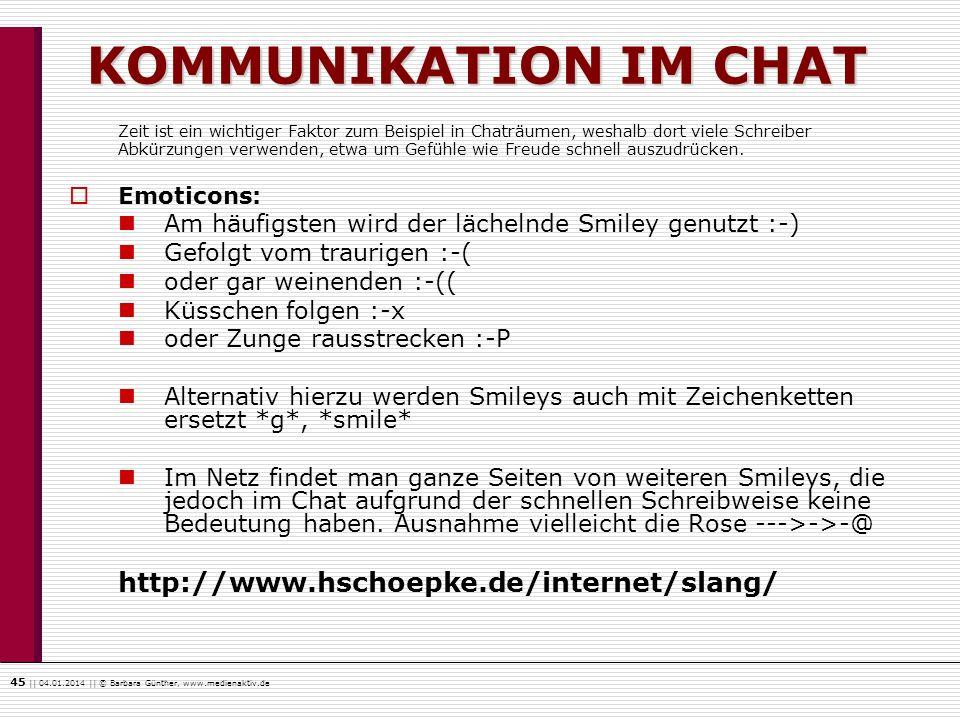 KOMMUNIKATION IM CHAT http://www.hschoepke.de/internet/slang/