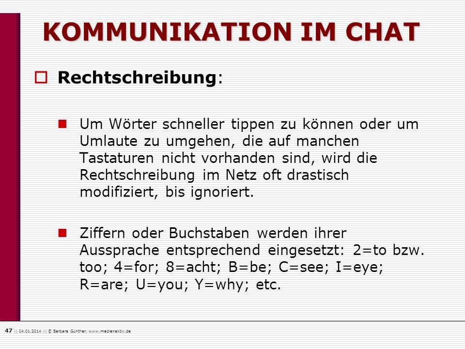 KOMMUNIKATION IM CHAT Rechtschreibung: