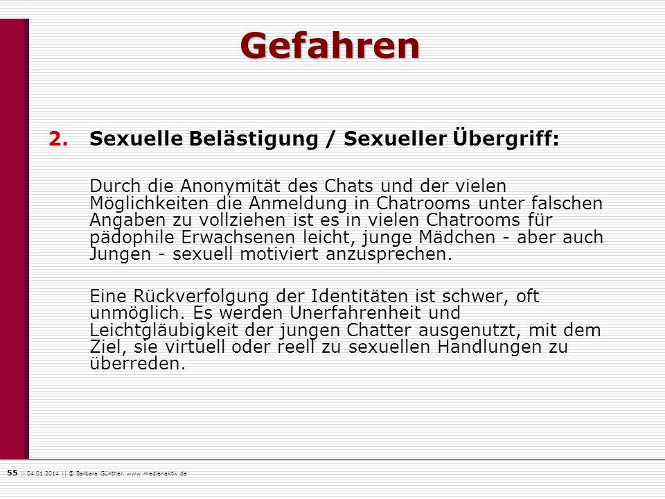 Gefahren Sexuelle Belästigung / Sexueller Übergriff: