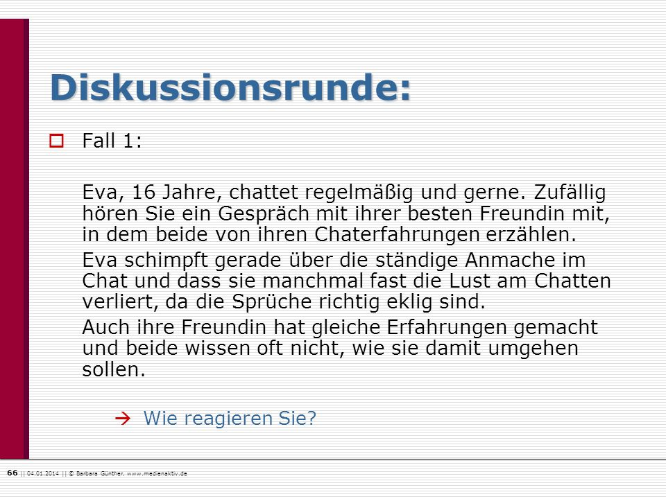 Diskussionsrunde: Fall 1: