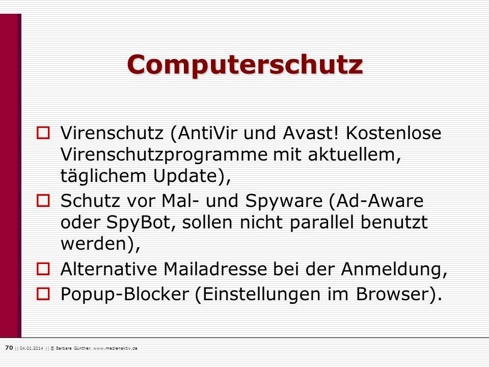 Computerschutz Virenschutz (AntiVir und Avast! Kostenlose Virenschutzprogramme mit aktuellem, täglichem Update),