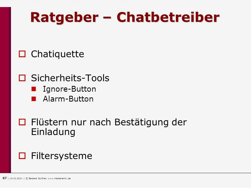 Ratgeber – Chatbetreiber