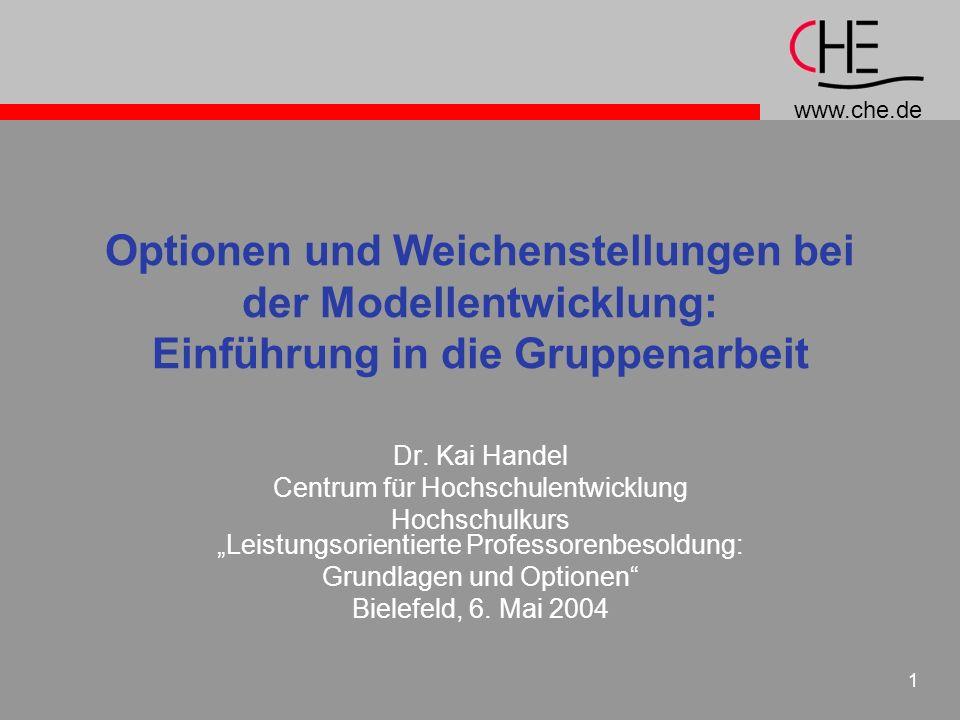 Optionen und Weichenstellungen bei der Modellentwicklung: Einführung in die Gruppenarbeit