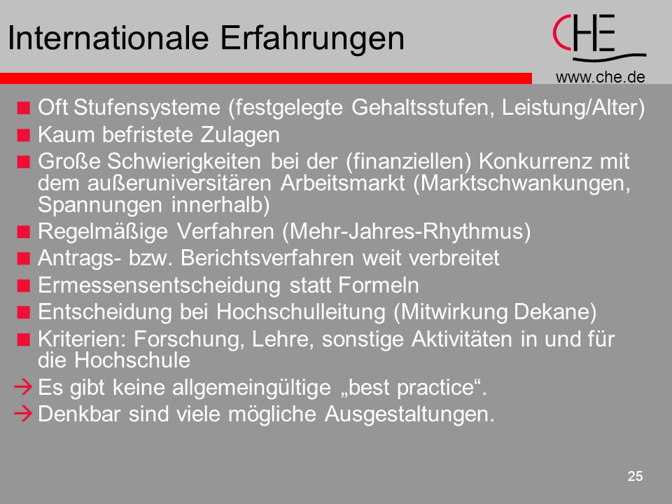 Internationale Erfahrungen