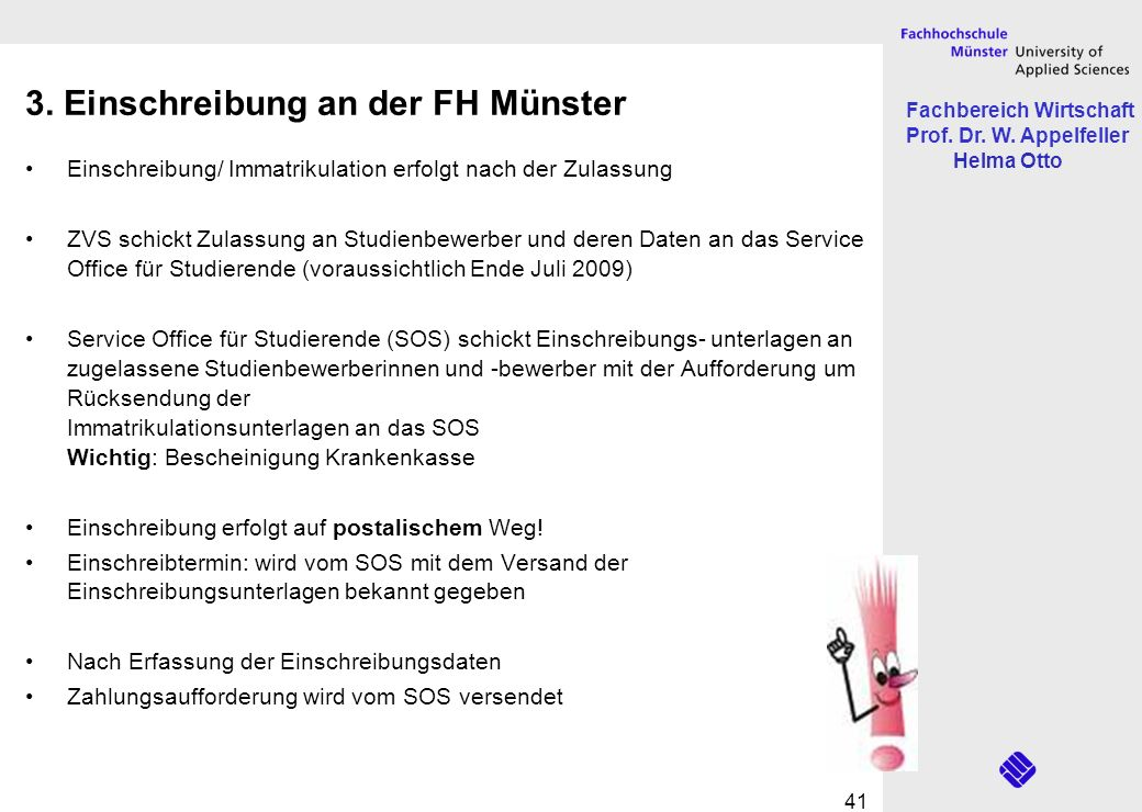 3. Einschreibung an der FH Münster