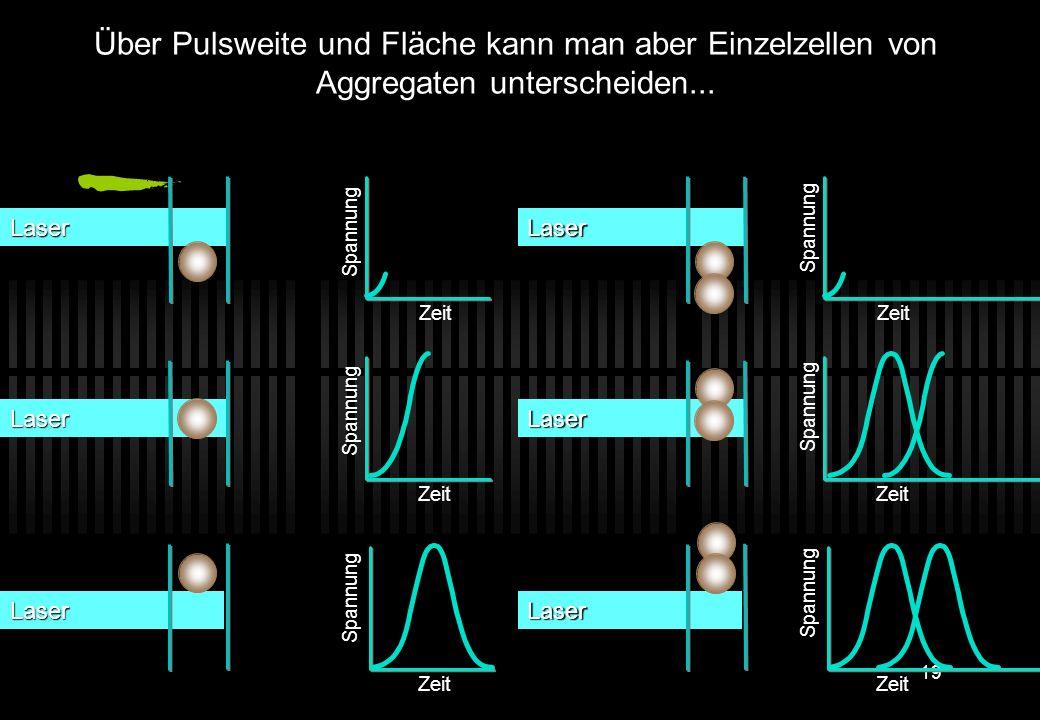 Über Pulsweite und Fläche kann man aber Einzelzellen von Aggregaten unterscheiden...