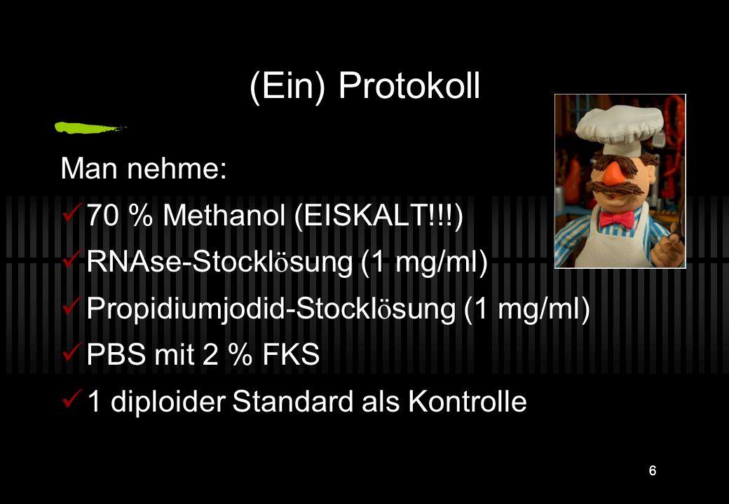(Ein) Protokoll Man nehme: 70 % Methanol (EISKALT!!!)