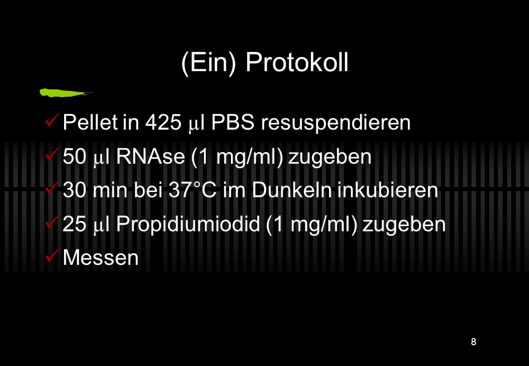 (Ein) Protokoll Pellet in 425 µl PBS resuspendieren