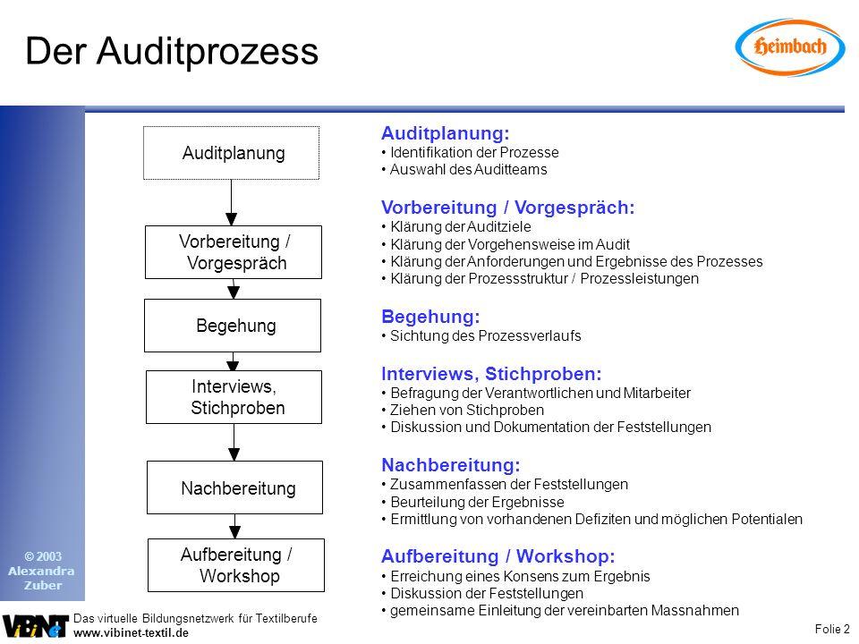 Der Auditprozess Auditplanung: Vorbereitung / Vorgespräch: Begehung:
