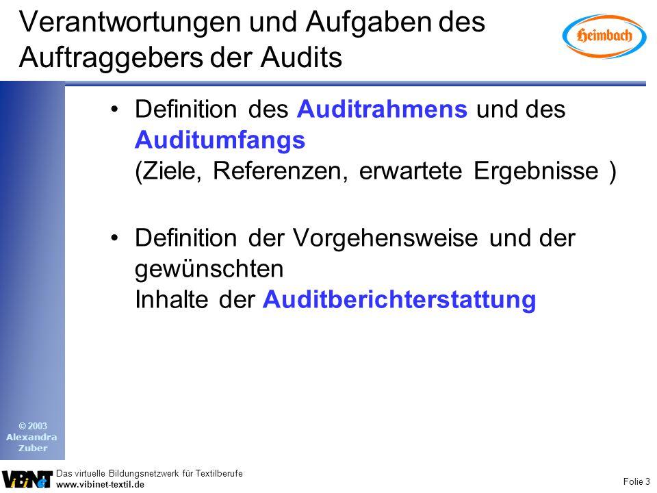 Verantwortungen und Aufgaben des Auftraggebers der Audits