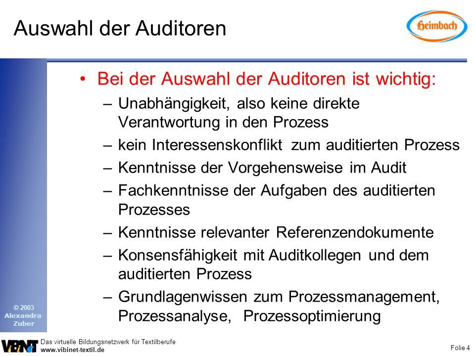 Auswahl der Auditoren Bei der Auswahl der Auditoren ist wichtig: