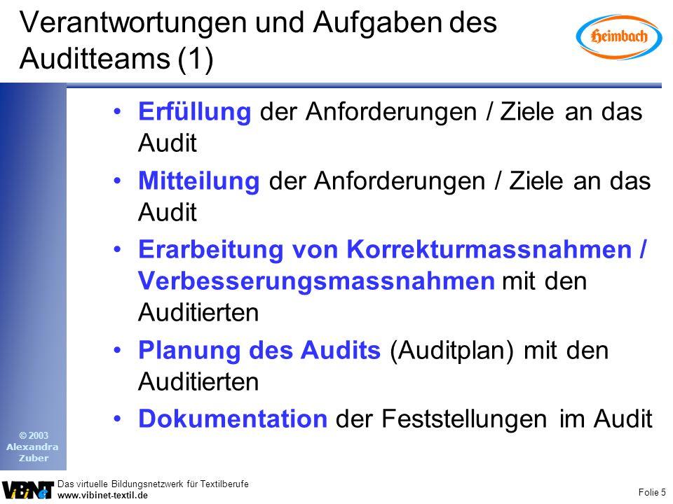 Verantwortungen und Aufgaben des Auditteams (1)