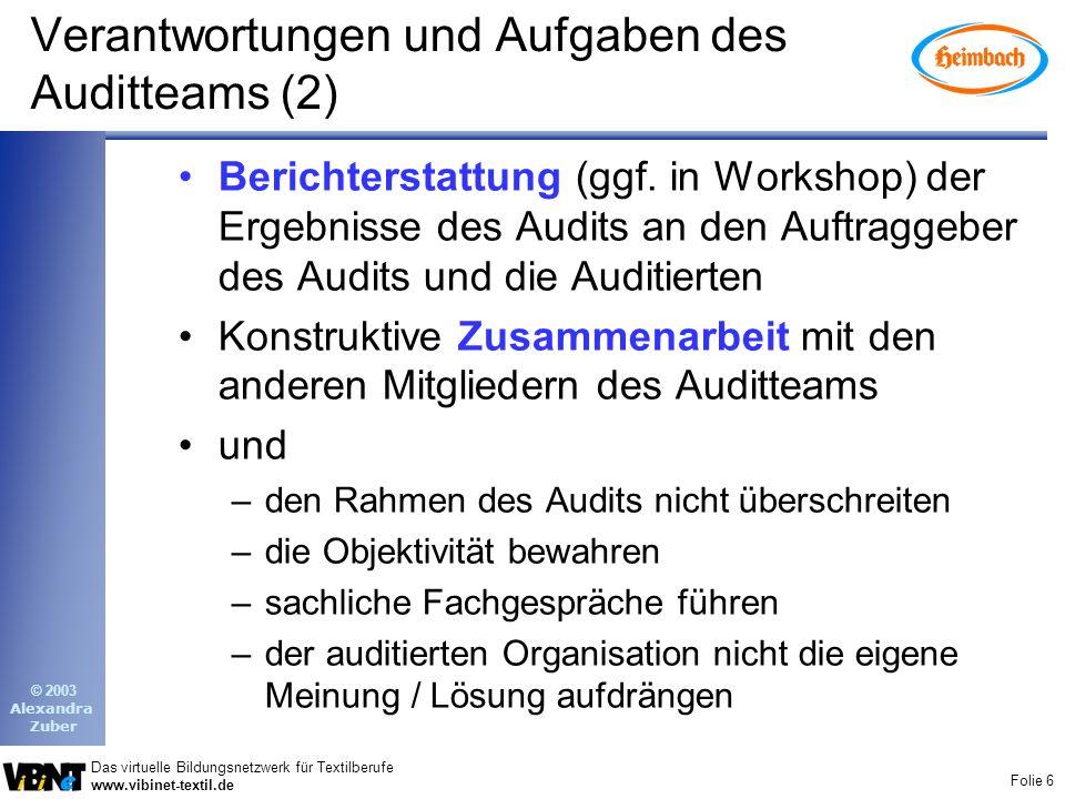 Verantwortungen und Aufgaben des Auditteams (2)