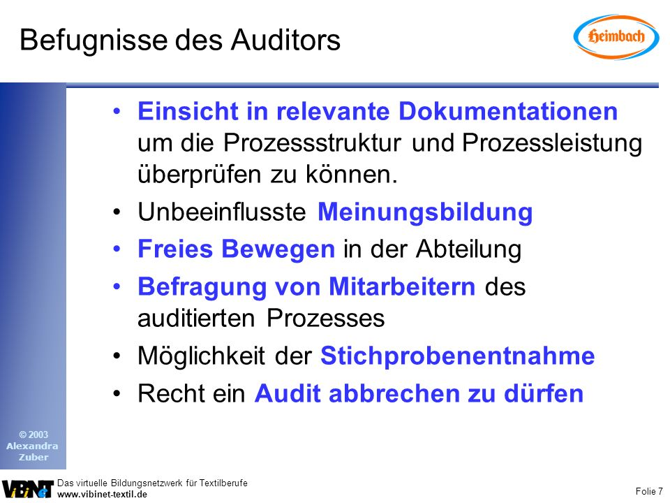 Befugnisse des Auditors