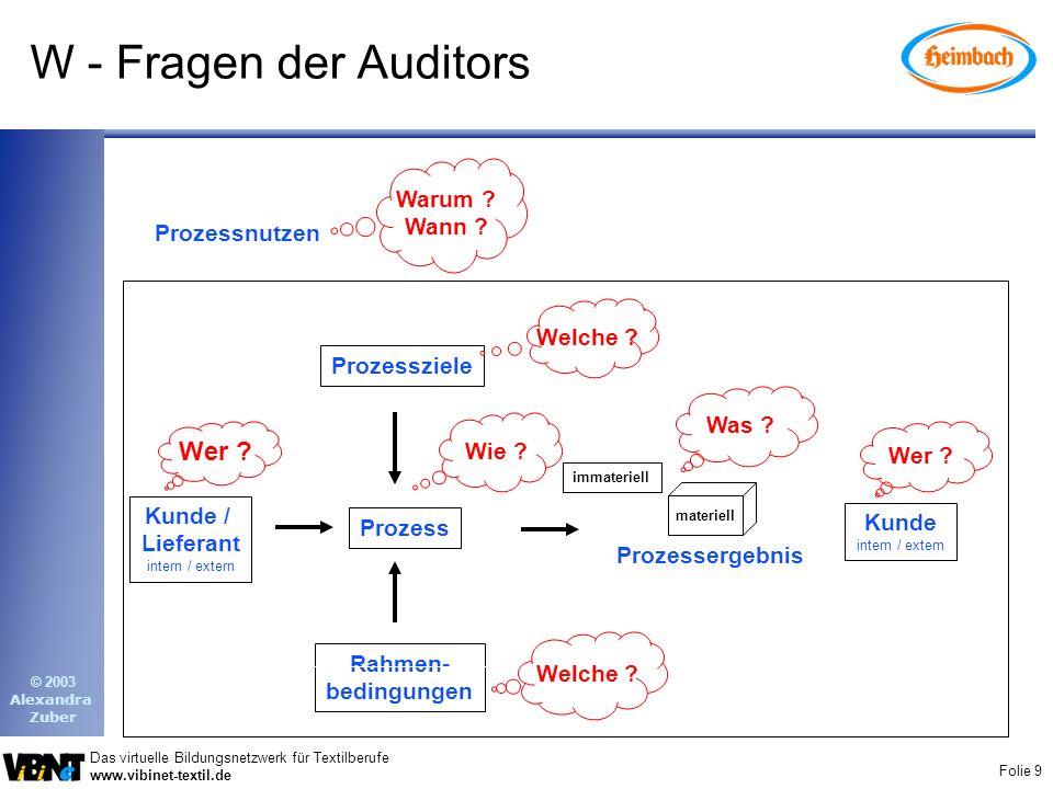 W - Fragen der Auditors Wer Warum Wann Prozessnutzen Welche