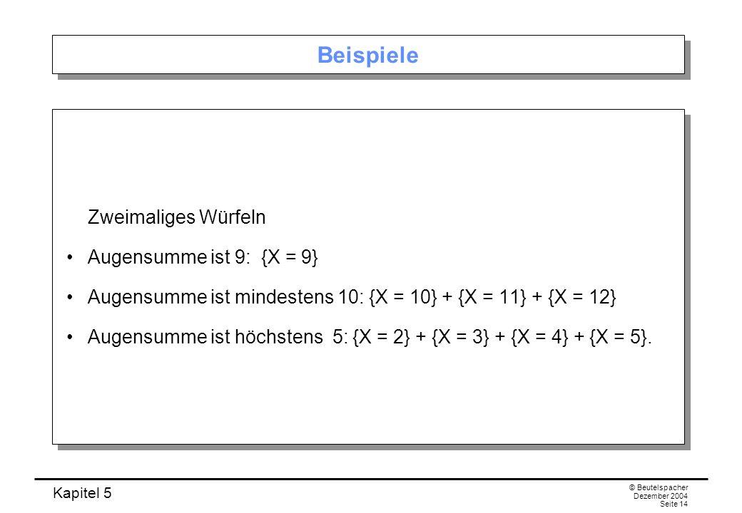 Beispiele Zweimaliges Würfeln Augensumme ist 9: {X = 9}