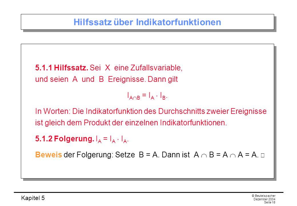 Hilfssatz über Indikatorfunktionen