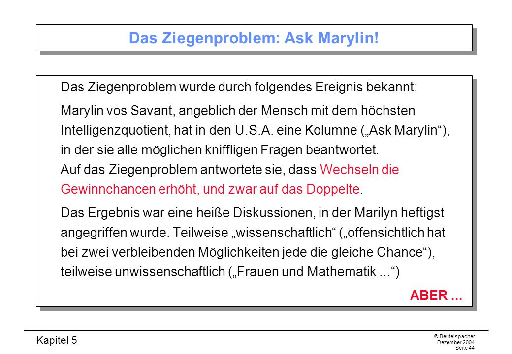 Das Ziegenproblem: Ask Marylin!