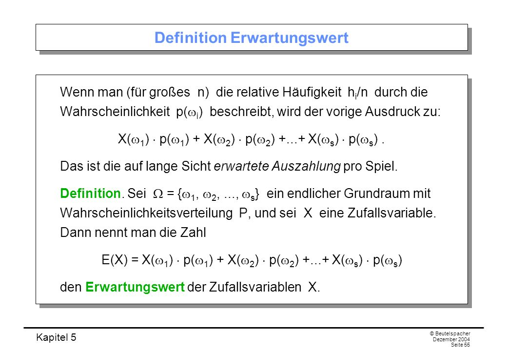 Definition Erwartungswert