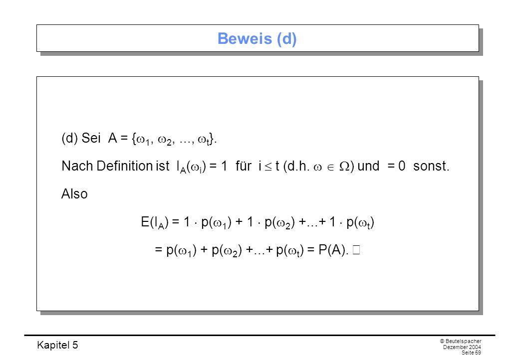 Beweis (d) (d) Sei A = {w1, w2, ..., wt}.