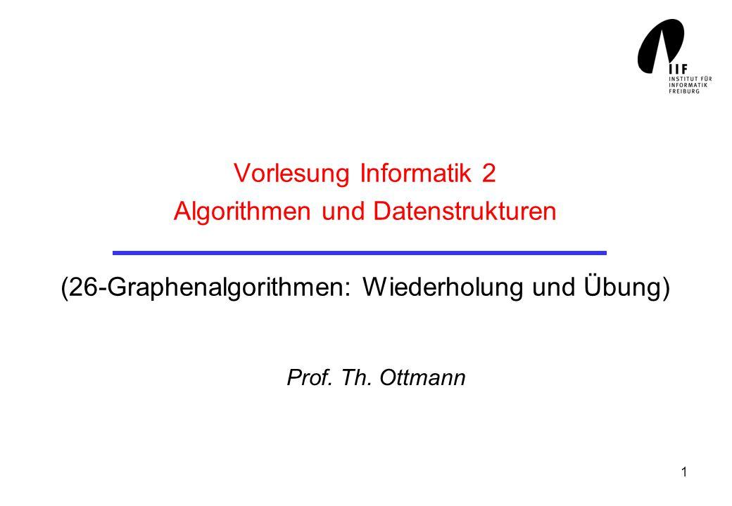 Vorlesung Informatik 2 Algorithmen und Datenstrukturen (26-Graphenalgorithmen: Wiederholung und Übung)