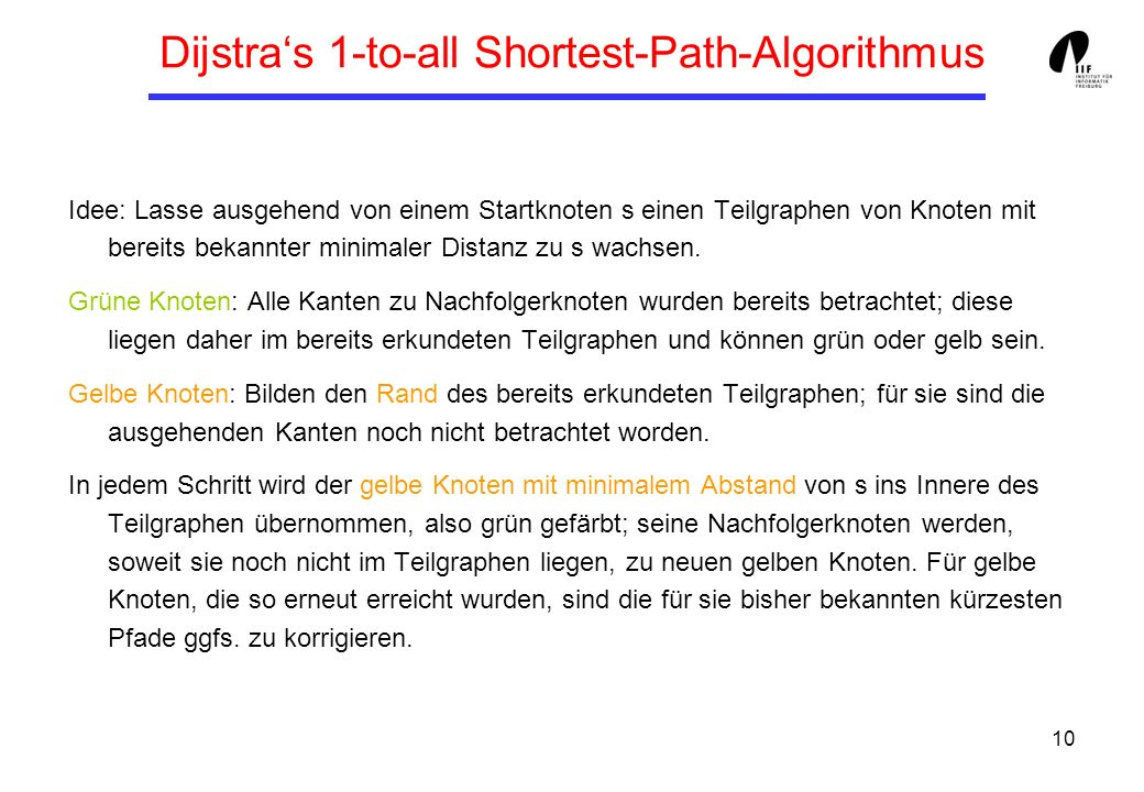 Dijstra's 1-to-all Shortest-Path-Algorithmus