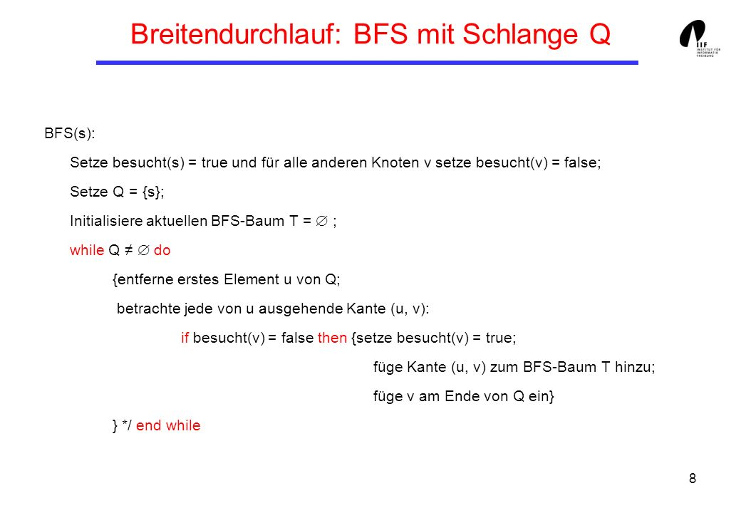 Breitendurchlauf: BFS mit Schlange Q