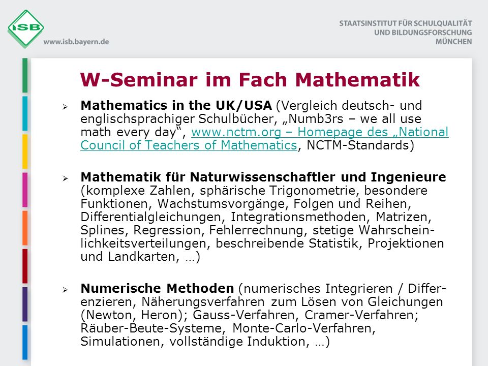 W-Seminar im Fach Mathematik