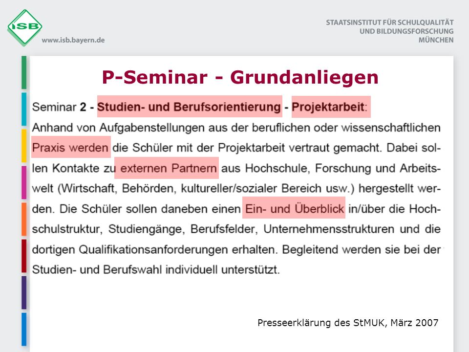 P-Seminar - Grundanliegen