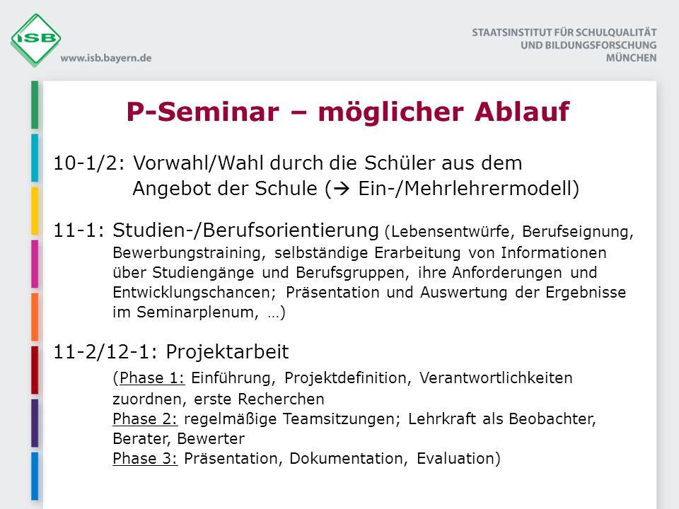 P-Seminar – möglicher Ablauf