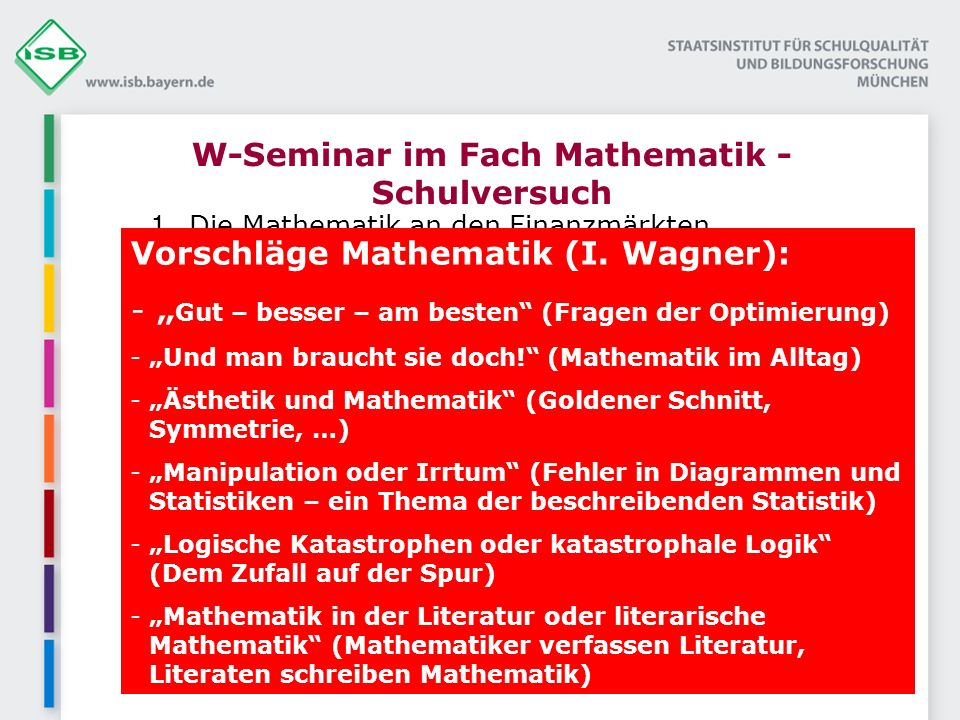 W-Seminar im Fach Mathematik - Schulversuch