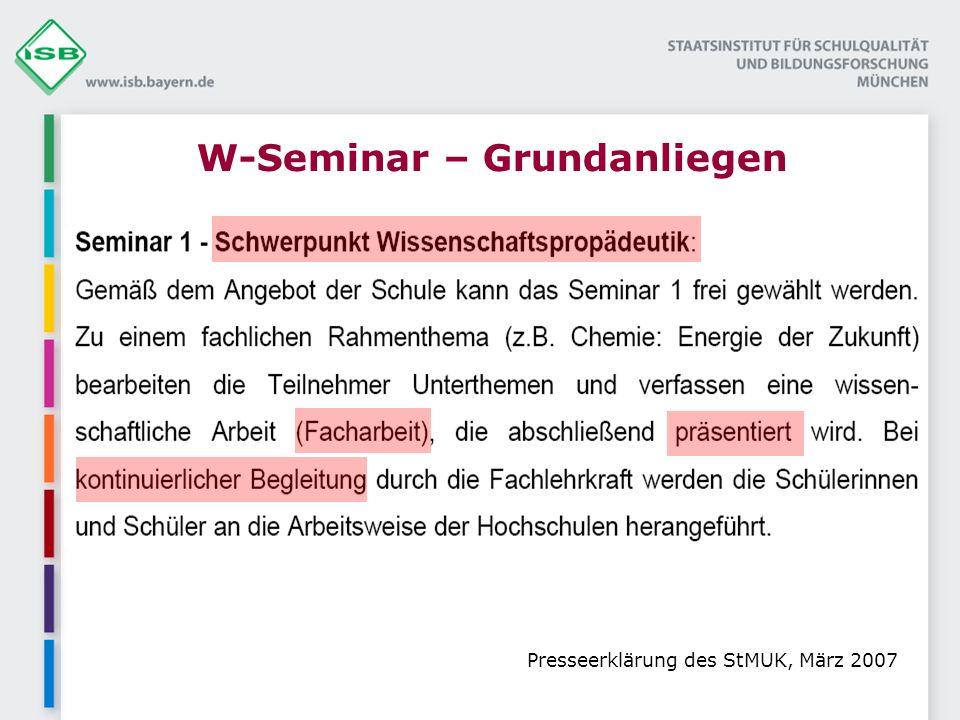 W-Seminar – Grundanliegen