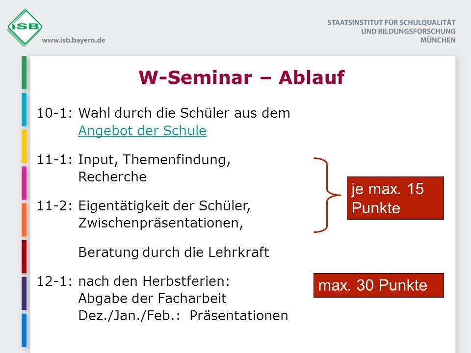 W-Seminar – Ablauf je max. 15 Punkte max. 30 Punkte