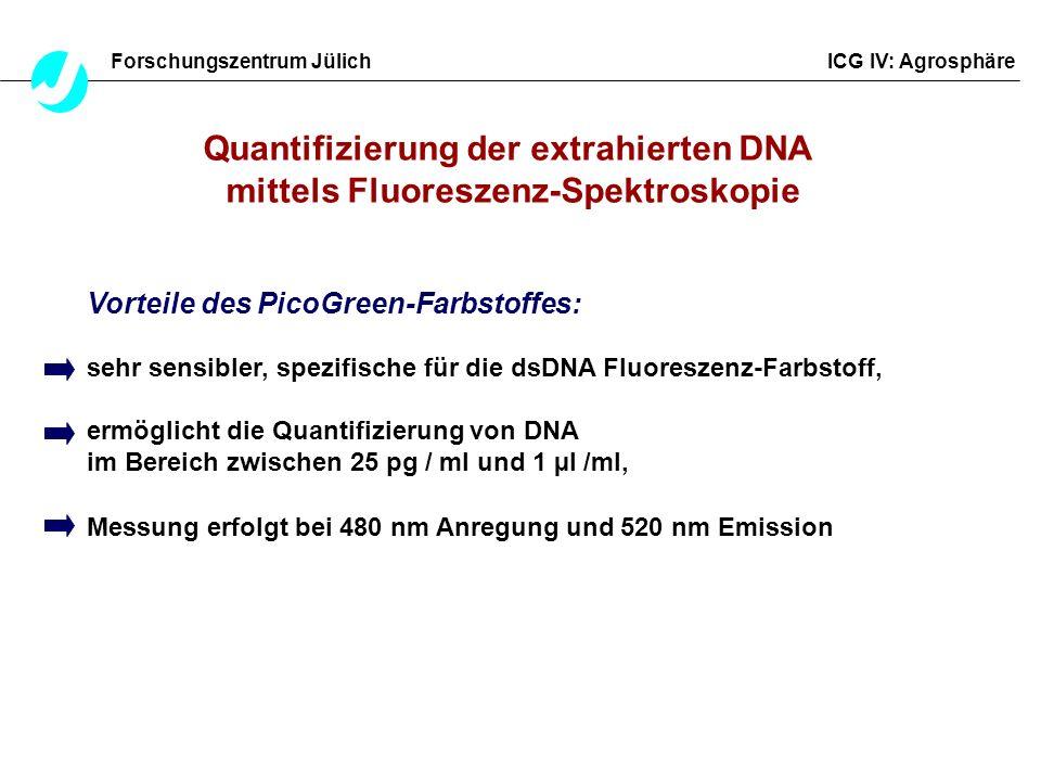 Quantifizierung der extrahierten DNA mittels Fluoreszenz-Spektroskopie