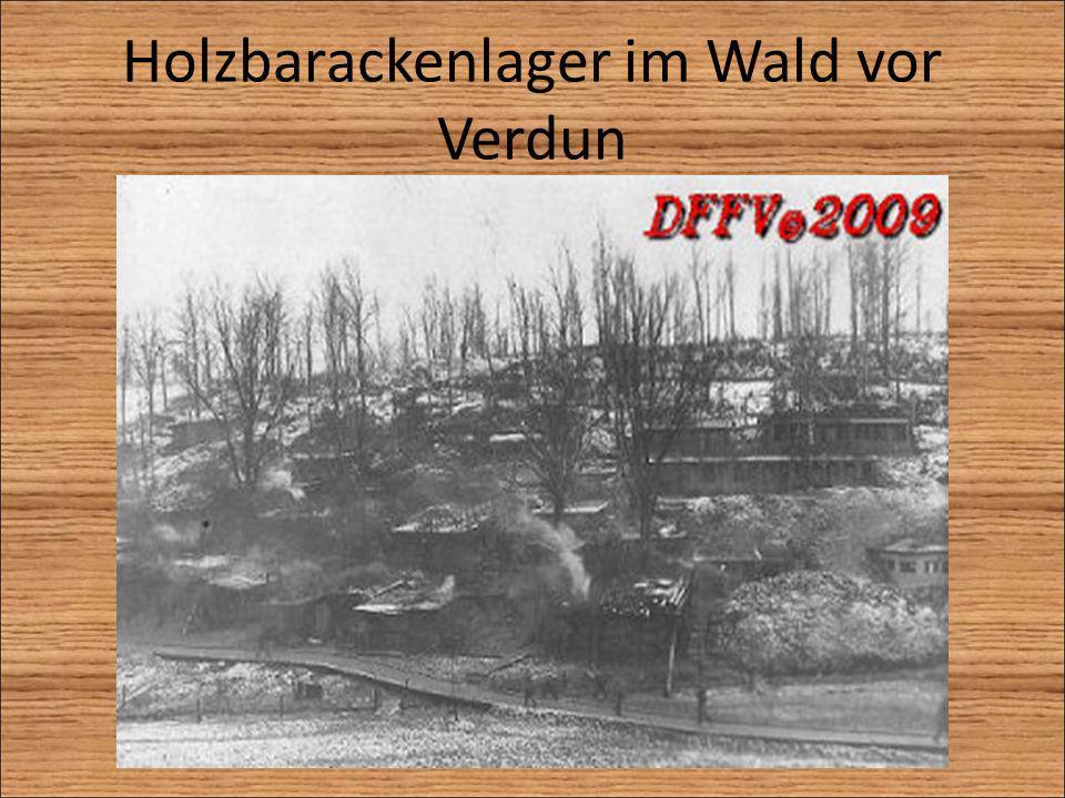 Holzbarackenlager im Wald vor Verdun