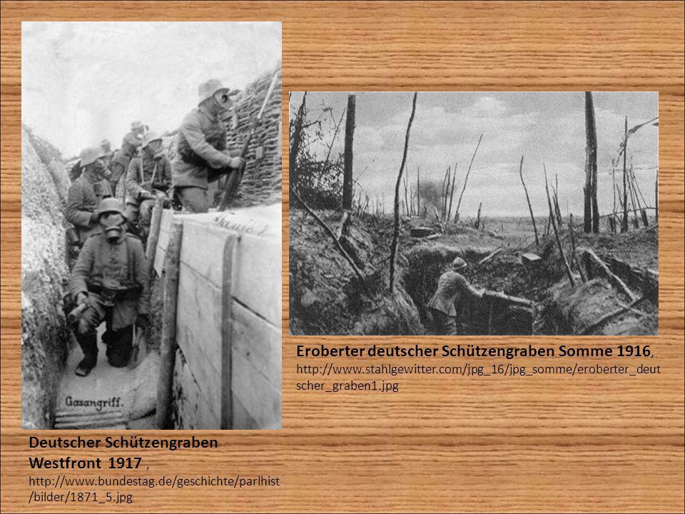 Eroberter deutscher Schützengraben Somme 1916, http://www