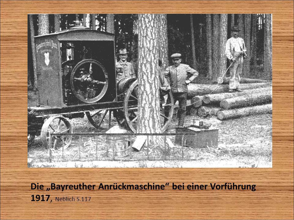 """Die """"Bayreuther Anrückmaschine bei einer Vorführung 1917, Neblich S"""