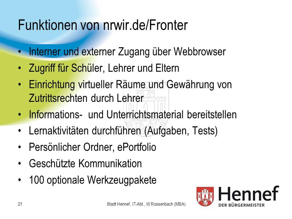 Funktionen von nrwir.de/Fronter
