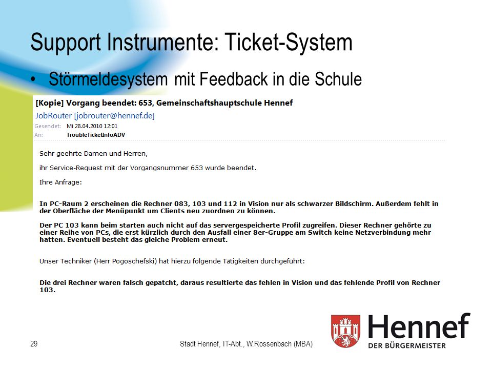 Support Instrumente: Ticket-System