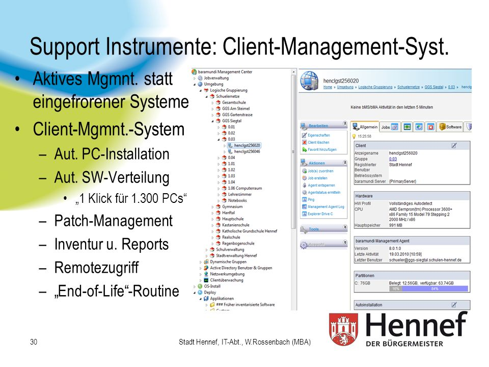 Support Instrumente: Client-Management-Syst.